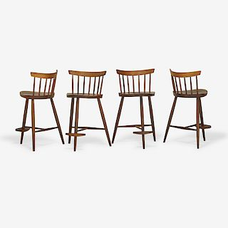MIRA NAKASHIMA Set of four Mira high stools