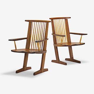 MIRA NAKASHIMA Pair of Conoid armchairs