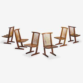 MIRA NAKASHIMA Set of six Conoid chairs