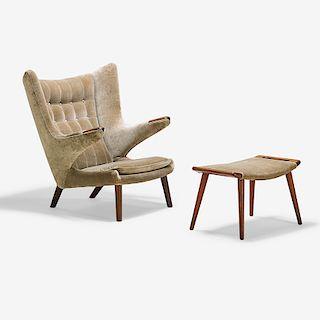 HANS WEGNER Papa Bear chair with ottoman