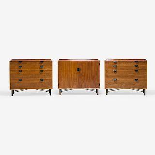 FINN JUHL; BAKER Three cabinets