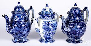 Three blue Staffordshire coffee pots