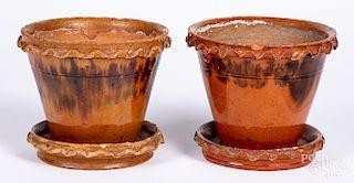 Two Pennsylvania redware flowerpots