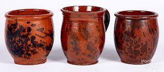 Three redware jars