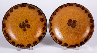 Pair of redware plates