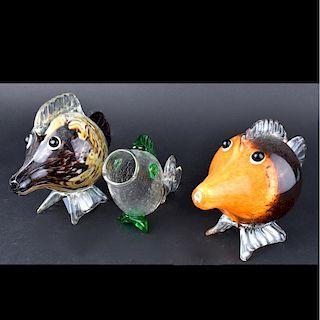 Grouping of Three (3) Murano Fish Figurines