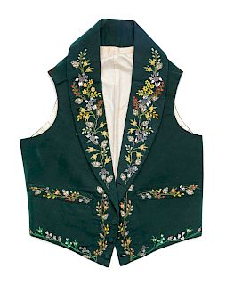 Men's Embroidered Green Ribbed Silk Waistcoat, 1830s