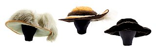 Three Edwardian hats, 1910s