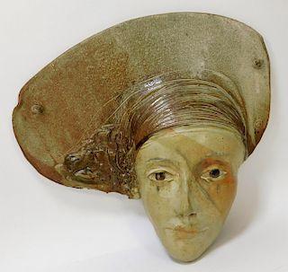 Marco Celotti Art Pottery Mask Wall Sculpture