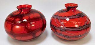 2PC Kralik Red Net Bohemian Art Glass Vases
