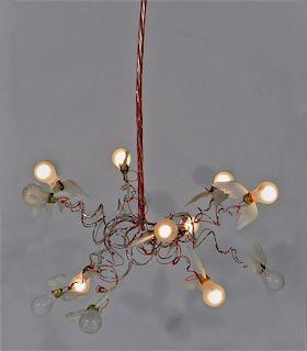 3PC Ingo Maurer Birdie Feather Chandelier Lamp
