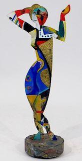 MCM Geometric Polychrome Bronze Woman Silhouette