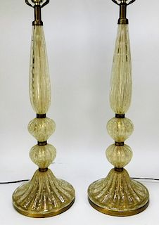 Pair Attr. Barovier and Toso Gold Aventurine Lamps