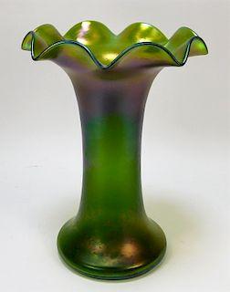 """13"""" Oil Spill Bohemian Art Glass Vase"""