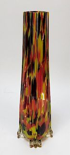Ruckl Splatter Bohemian Art Glass Vase