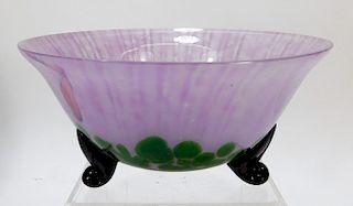 Welz Green Aventurine Bohemian Art Glass Bowl
