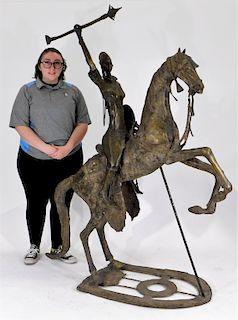 LG Bronze Woman Warrior and Horse Sculpture