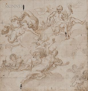 Italian School, 18th Century  Design for a Ceiling Decoration with Diana as the Moon Goddess and Other Celestial Figures