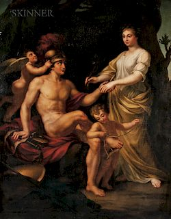 Continental School, 18th Century  Allegory: Mars (War) Disarmed in the Presence of Peace
