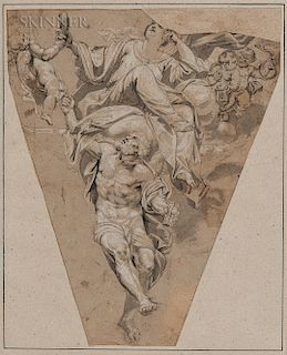 Italian School, 17th Century  Vanitas (Time and Vanity)/A Study for a Spandrel or Pendentive