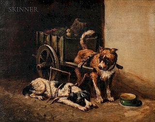 Peter B. West (British/American, 1837-1913)  Pair of Paintings of Dogs with Carts: One Standing, One Laying