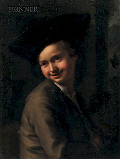 School of Etienne Jeaurat (French, 1699-1789)  Portrait of a Smiling Young Man