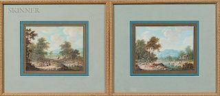 Continental School, 18th Century  Two Scenes of Wayfarers: River Crossing
