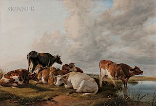Thomas Sidney Cooper (British, 1803-1902)  Cattle on a Riverbank