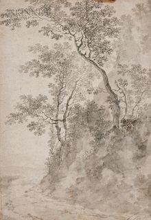 School of Jacques Fouquières (French, c. 1580-1659)  Woodland Embankment