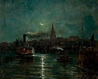 Clement Drew (American, 1806-1889)  Moonlit Harbor