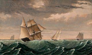 Fitz Henry Lane (Massachusetts, 1804-1865)  Vessel Returning from Surinam