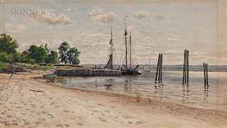 Alfred Thompson Bricher (American, 1837-1908)  Vessels at a Wharf