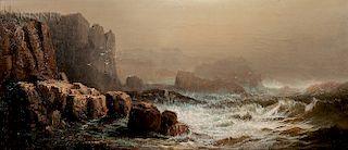 Harrison Bird Brown (American, 1831-1915)  Crashing Surf with Cliffs, Probably Grand Manan