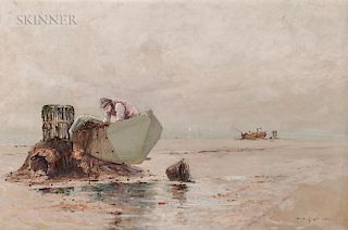 Edward A. Page (American, 1850-1928)  Fisherman and Dinghy at Low Tide