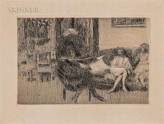 Edouard Vuillard (French, 1868-1940)  Intérieur au canapé