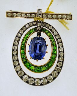 One Stunning Lady's Sapphire, Demantoid Garnet & Diamond PIN in YG- Est. $105K!