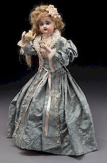 French Tete Jumeau automaton of lady drinking tea,