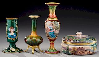 (4) French enamel on copper items,