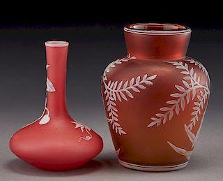 (2) English cameo glass vases,