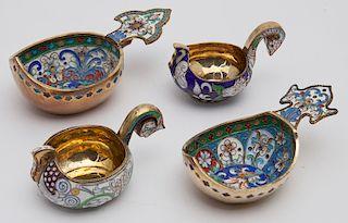 (4) Russian-style enameled silver kovsh.