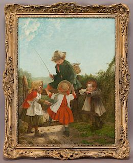 """Erskine Nicol """"The Young Rivals"""" oil on canvas,"""