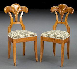 Pair Biedermeier fruitwood side chairs