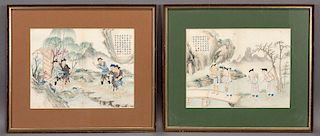 """(2) Chinese Qing watercolor paintings """"The Hundred"""