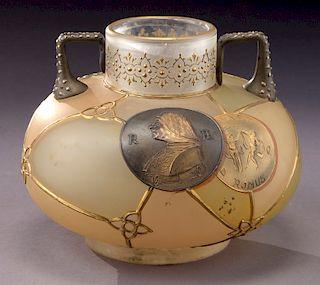 Mt. Washington Royal Flemish two-handled vase,