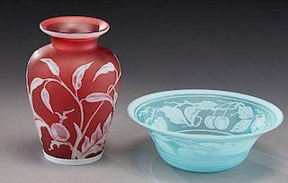(2) English cameo glass items,