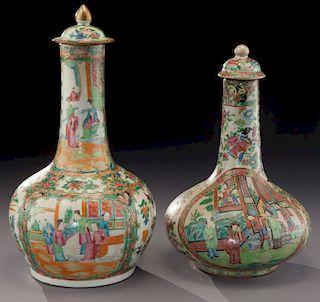 (2) Chinese rose medallion porcelain vases,