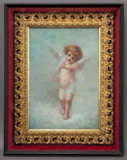 "Domenico Tojetti ""Untitled (Cherub)"" oil on"
