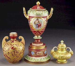 (3) Royal Crown Derby porcelain vases,