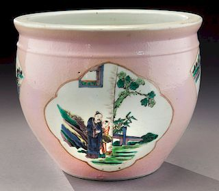 Chinese Republic famille rose porcelain fish bowl,