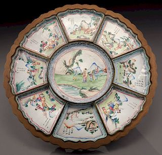 (9) Chinese Qing canton enamel dishes,